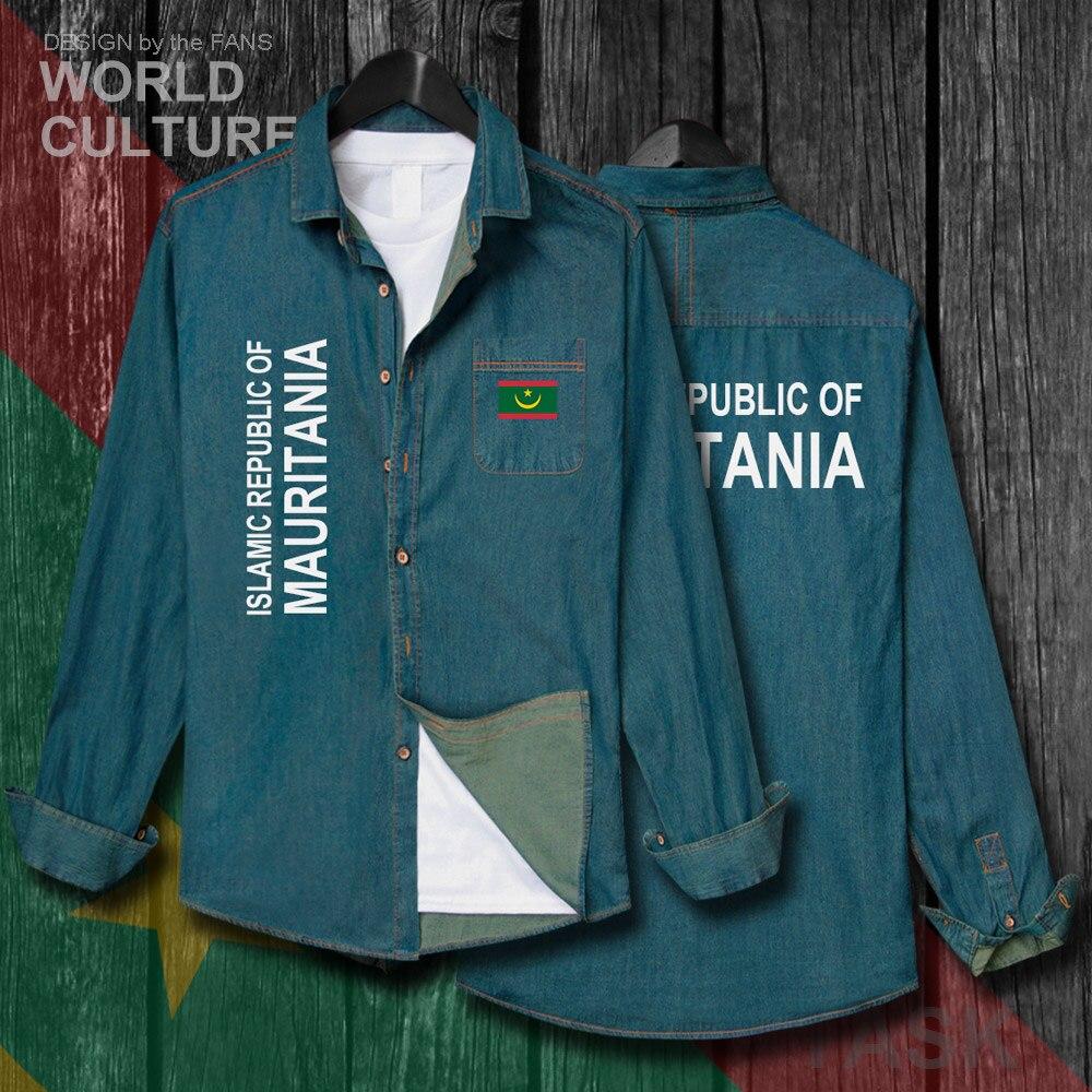 Mauritania Mauritanian MR MRT Men Flag Clothes Autumn Cotton Long Sleeve Cowboy Casual Coat Fashion Turn-down Collar Jeans Shirt