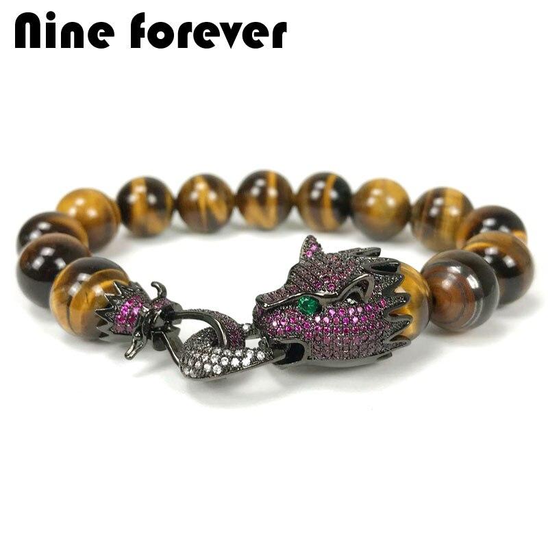Pulsera de amuletos de leopardo Nine forever para hombre, joyería de piedra natural, pulseras y brazaletes de piedras naturales, pulsera masculina