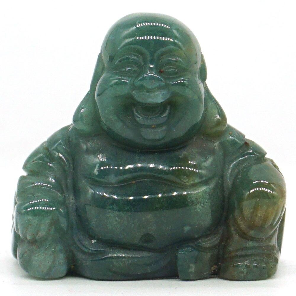 Piedra preciosa Natural de 1,1 pulgadas, piedra de ágata India Maitreya Buda, figurita labrada, artesanía, Chakra de la suerte, Reiki curativo