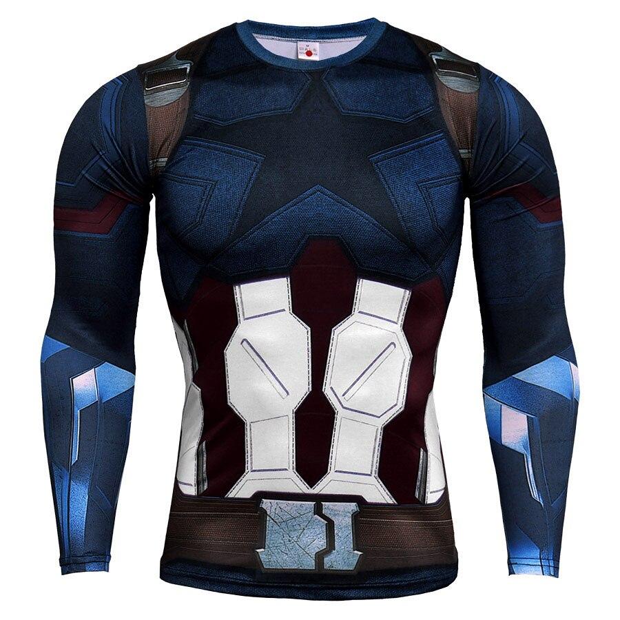Captain America Male T-shirt Compression Gyms Tops Fitness Training Male Shirts Sportwear Sweatshirt Tight T Shirt Men Rashguard