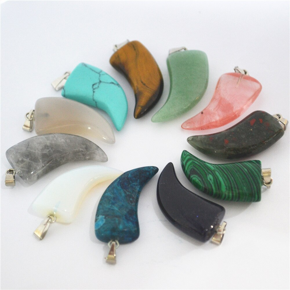 2018 Hot Natural Stones Onyx Pink Quartz Crystal Tiger Eye Horn Shape Pendants Jewelry for Women Men Best Gift 12PCS 30*14MM