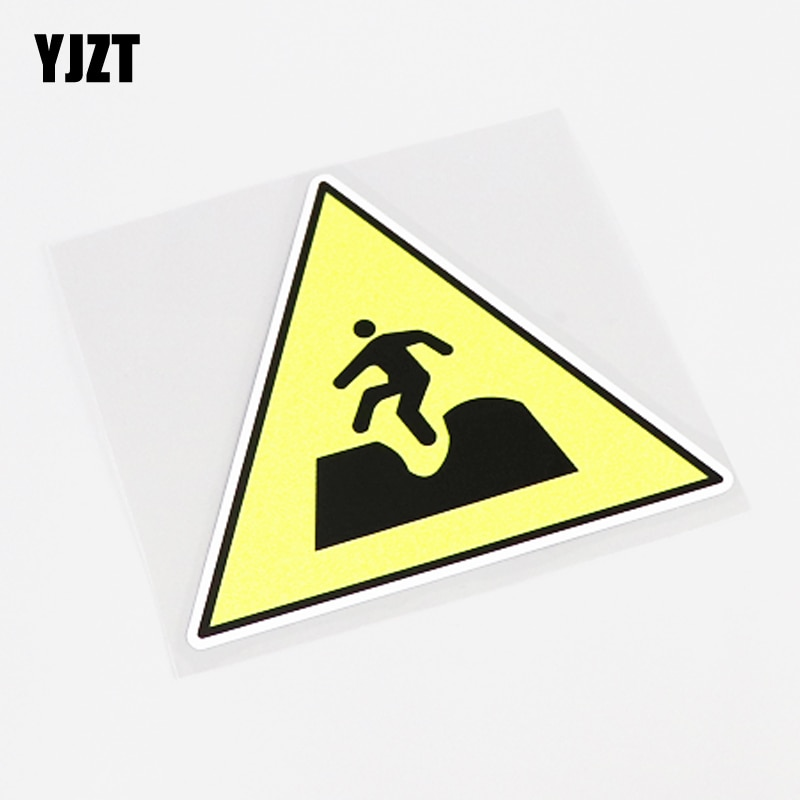 YJZT 11CM*10CM Fashion Warning Mark Be Careful Fall Into PVC Car Sticker Decal 13-0898