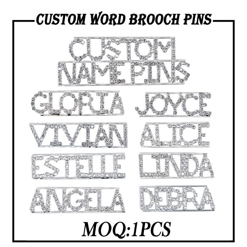 Grandebling palavra personalizada broche pinos de cristal feito à mão nome personalizado lapela pinos/emblemas original jóias presente