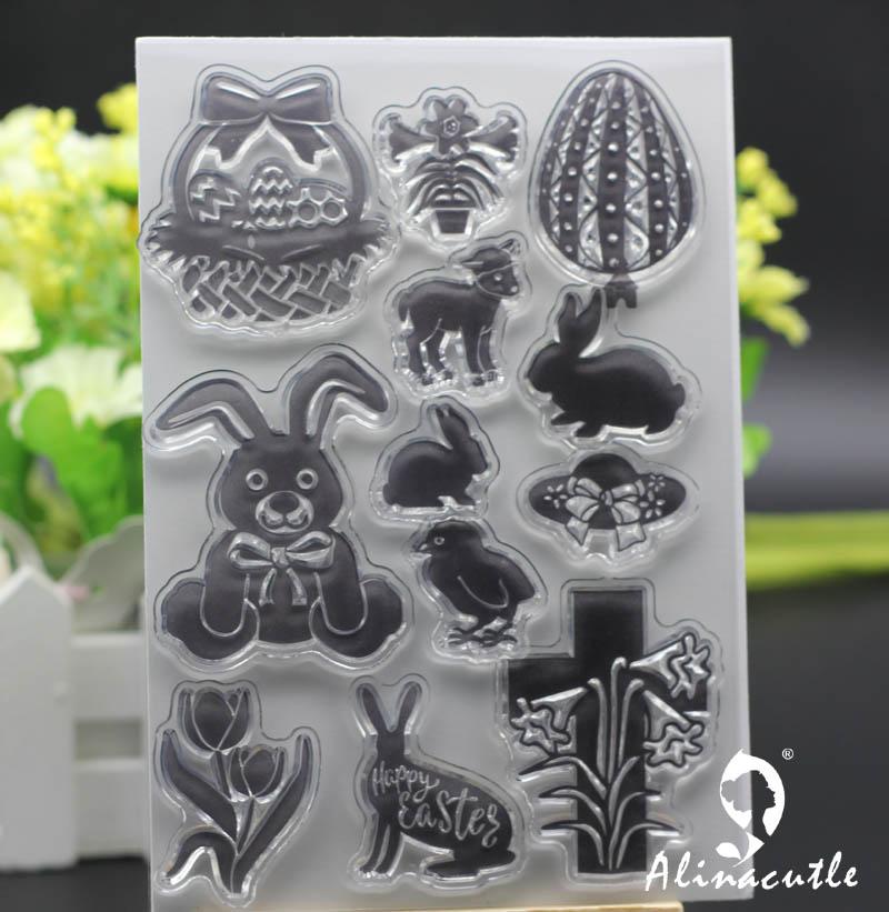 Sellos transparentes huevos de conejito de Pascua Alinacraft Scrapbooking tarjeta hecha a mano papel de álbum craft rodillo de goma sellos de silicona transparente
