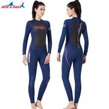 DIVE&SAIL Women 3mm Neoprene+Shark Skin Full-body Wetsuit High Elastic Anti-UV Dive Suit Body Suit for Winter Swimming Surfing
