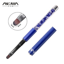 ANGNYA 1Pcs Nail Art Brush Pen Rhinestone Diamond Metal Acrylic Handle UV Gel Powder Salon Nail Brush Size #6 Manicure Tool A022