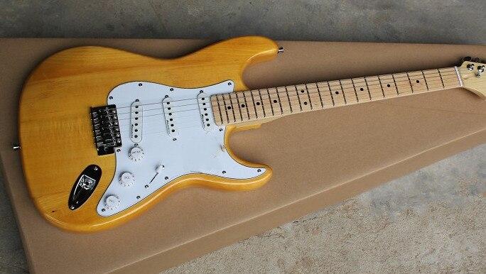 Электрическая гитара Log color, кленовый гриф, белая защитная доска, звукосниматель SSS, может быть настроен по требованию, бесплатная доставка.