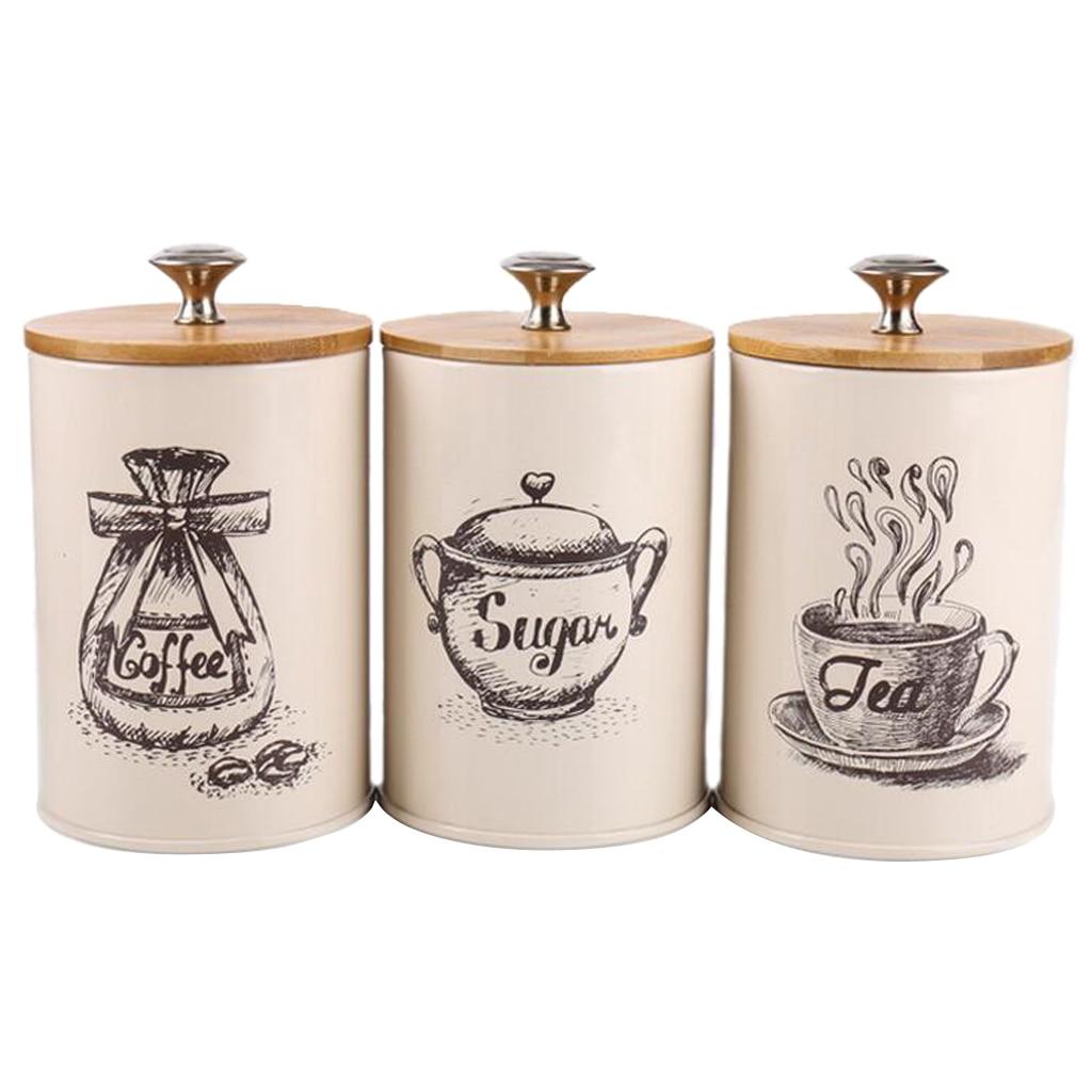3 قطع خمر ، ريترو ، عُلبة مطبخ مع غطاء لتخزين الطعام ، تخزين القهوة والسكر والشاي والتوابل وأكثر من ذلك