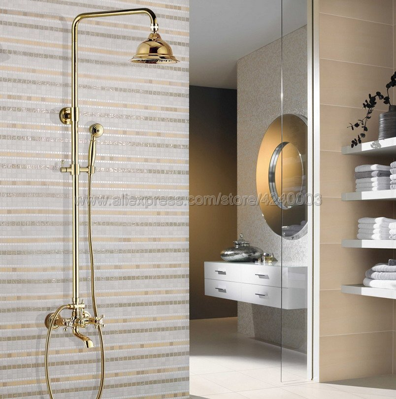 Grifo de ducha montado en la pared de latón de Color dorado de lujo, sistema de ducha de lluvia para baño, bañera con rociador de mano Kgf346