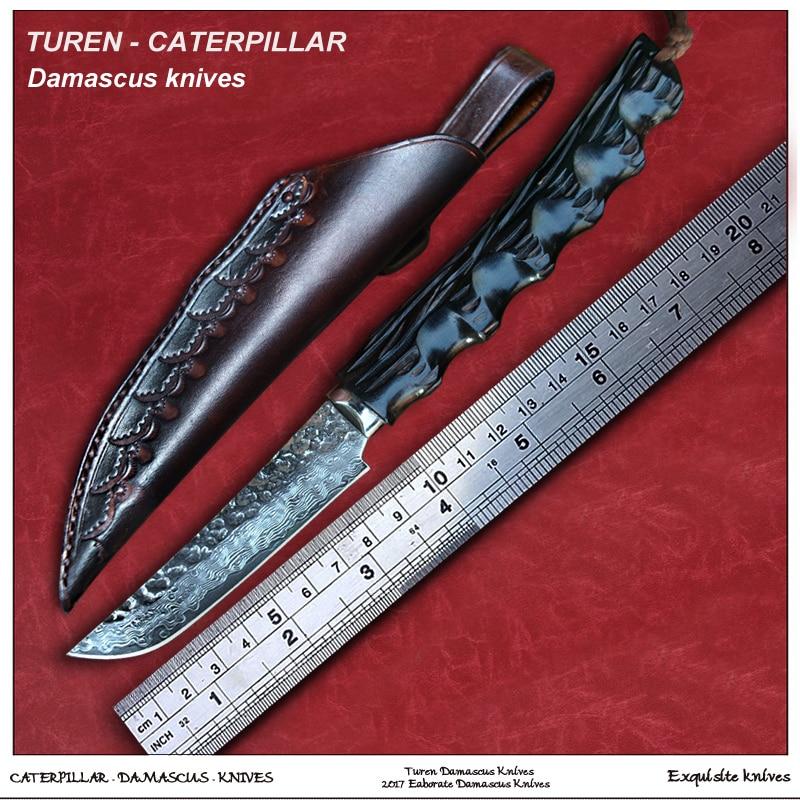 Турен Дамасская сталь фиксированный нож Ebony Ручка VG10 стальное Ядро высокой