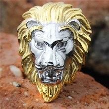 1 pc!! Grand anneau de tête de Lion en acier inoxydable 316L