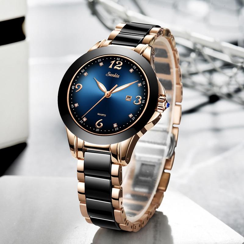 SUNKTA Fashion Gift Women Watches Ladies Top Brand Luxury Ceramic Rhinestone Sport Quartz Watch Women Blue Waterproof Watch enlarge