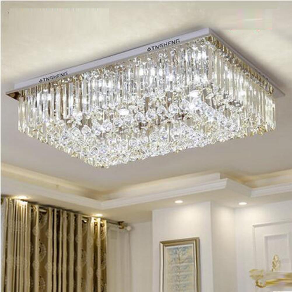 Lámpara de araña rectangular de cristal, iluminación moderna, AC110V, 220V, lustre de...