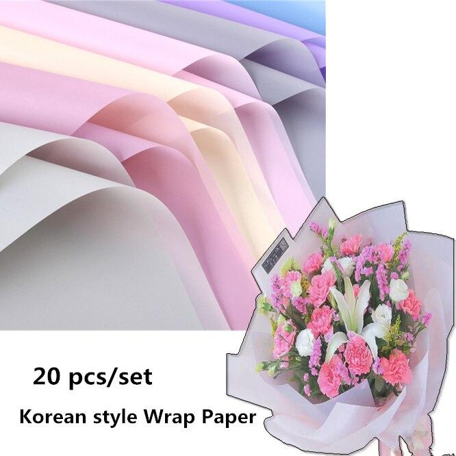 20 unids/set de papel tisú de color coreano, flor de embalaje, papel para envolver, regalo de Navidad, papel para envolver, regalo de boda, Material de embalaje