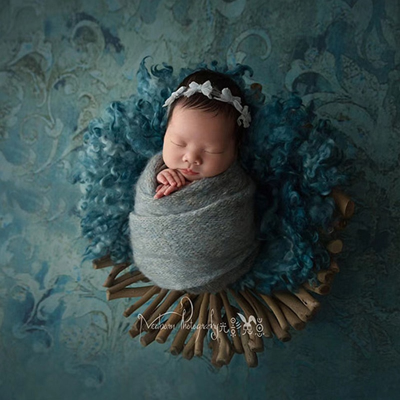 creative handmade wood  newbornphotography  props  infantile smooth  branch phorography  shooting   tray for  baby enlarge
