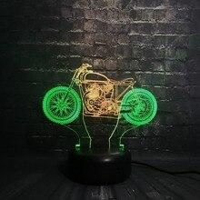 Novedad lámpara 3D Mixcolor motocicleta luz de noche USB humor insecto chico juguetes RGB LED Bombilla chico s juguetes táctil Scooter autociclo