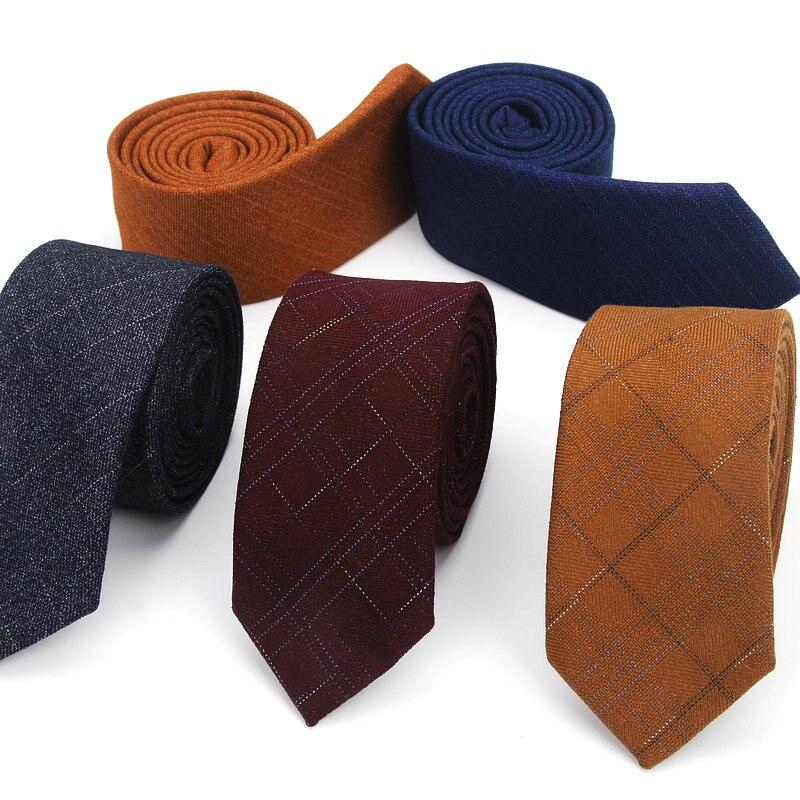 Los hombres atan lana de lujo a cuadros de moda corbatas delgadas de marca clásica cómodo para hombre vestido de boda de fiesta de calidad de negocios camisas corbata