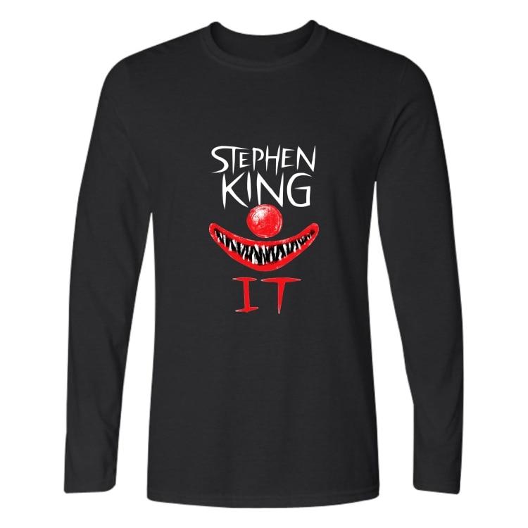 Luckyfridayf 2018 stephen king it s it filme de terror outono t-shirts impressão masculina algodão tshirt homme unisex manga longa gótico
