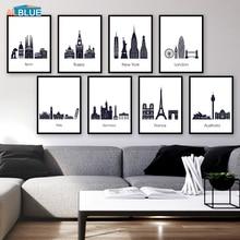 Toile de peinture bâtiment célèbre   Affiche murale noire et blanche, tableau artistique pour salon, voyage dans le monde, New York, londres, Paris, ville