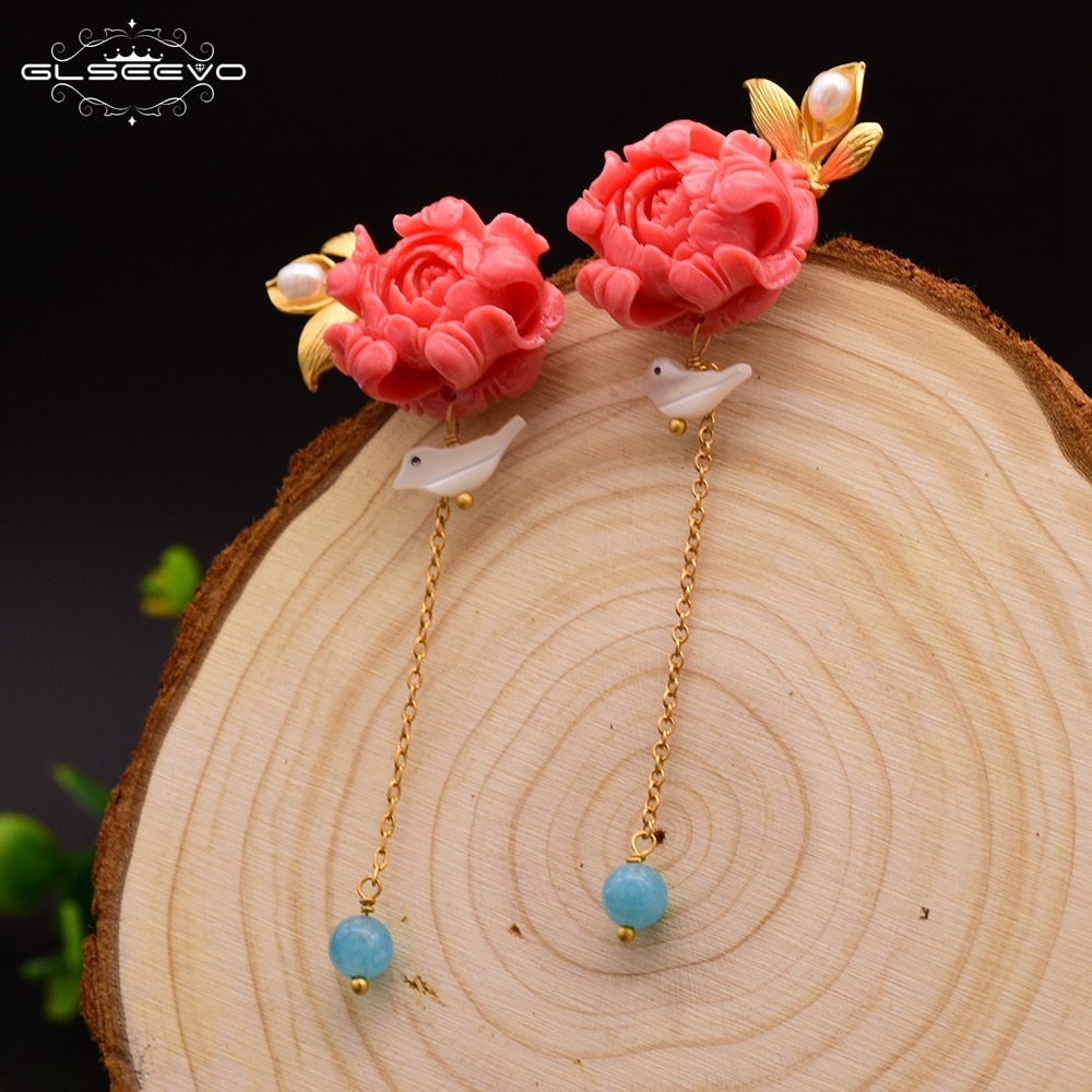 GLSEEVO 925 Sterling Silver Coral Powder Drop Earrings For Women Natural Blue Crystal  Bird Flower Dangle Earring Jewelry GE0413