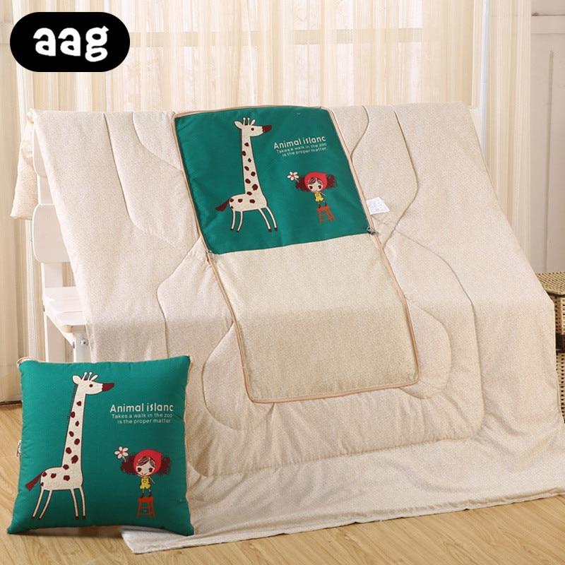 Dropshipping algodão dos desenhos animados colcha cobertor dobrável portátil quadrado jogar travesseiro casa escritório carro ar condicionado colcha