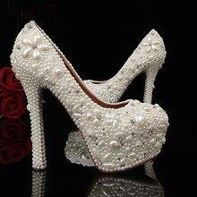 Populaire nouvelle ivoire femme chaussures de mariée dame strass cristal fête chaussures de bal belle Imitation perle femme robe de mariée chaussures