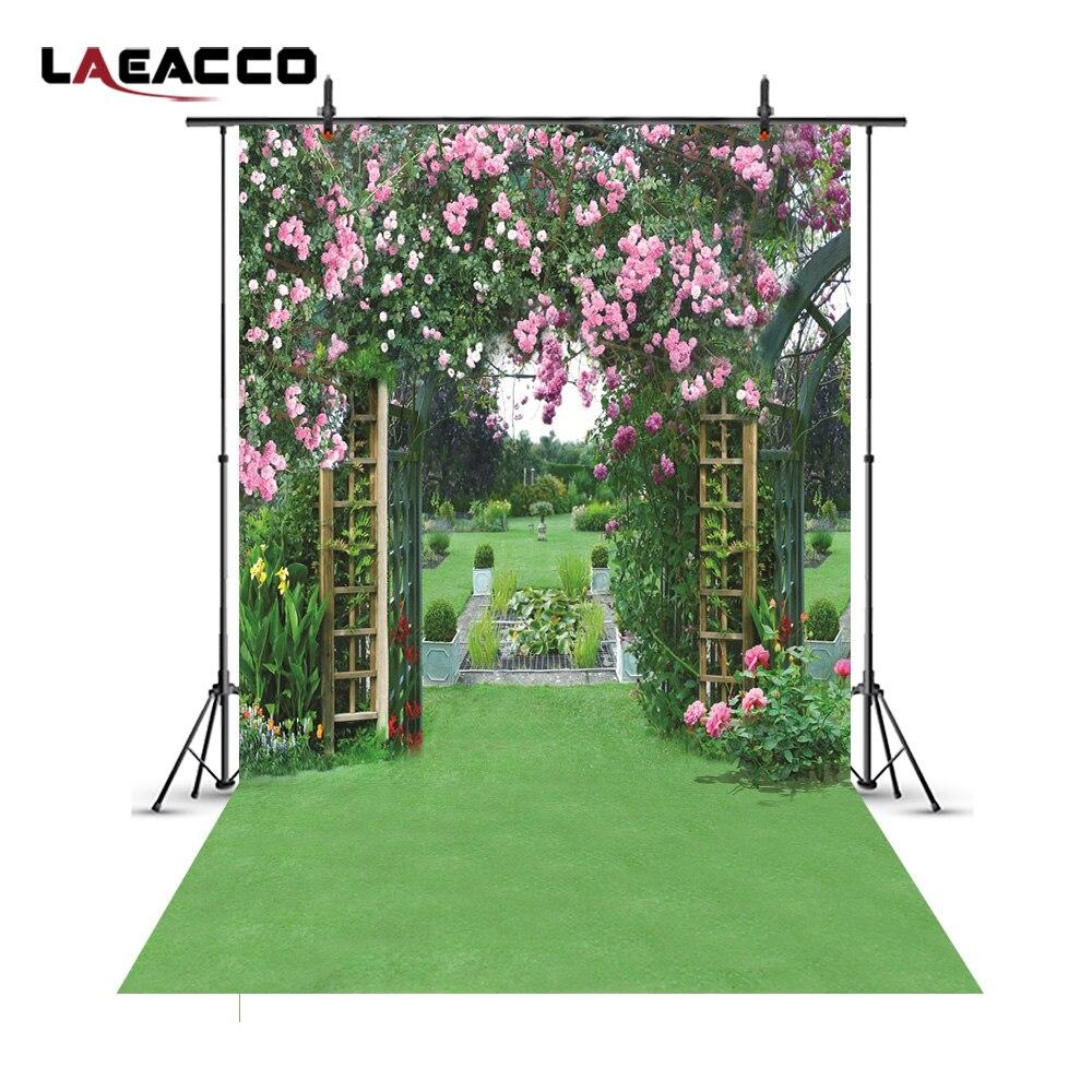 Laeacco зеленый сад цветочные арки ворота фото фоны Виниловые настраиваемые фотографии фоны реквизит для фотостудии