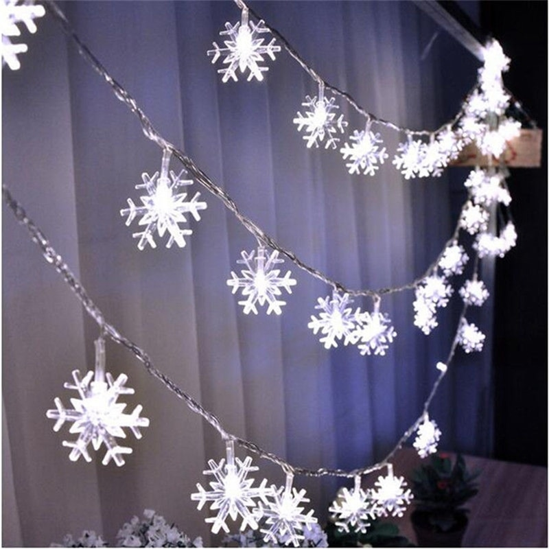 led string light 10m 5m 2m cooper wire holiday light fairy light for christmas wedding party decoration powered by battery usb 2M 5M 10M Christmas Snowflakes Led String Fairy Light Party Wedding Garden Garland Decoration Battery USB 220V Powered