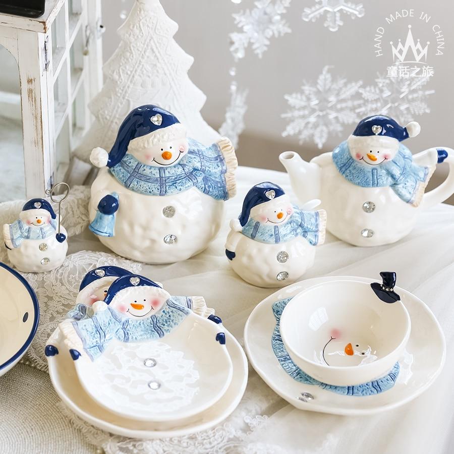 Home Decorations Dessert Plate Snacks Dishes Creative Cute Cartoon Ceramic Bowl Snowman Dish Tea Teapot Sets dinnerware CL190322