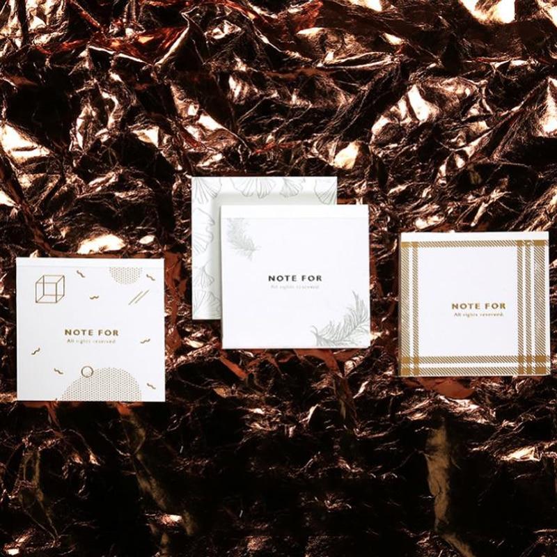 1 Uds. Cute Bronzing Gold Stamping Dot Collage Grid marco pegatina marcador Bloc de notas diario pegajoso nota estacionaria regalo