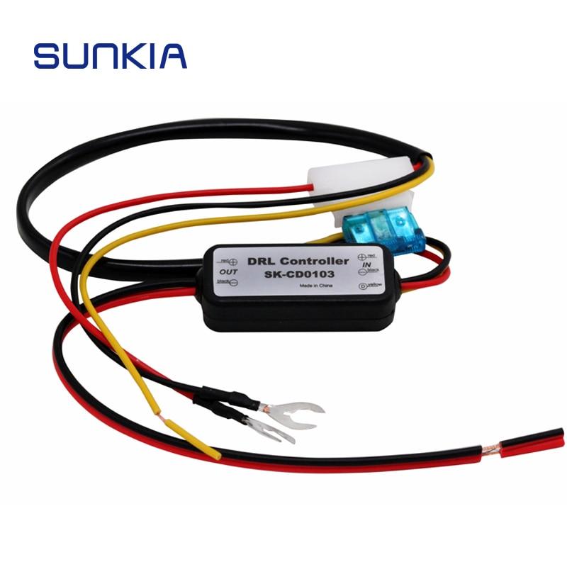 DRL Controller Auto Car LED Daytime Running Light Relay Harness Dimmer On/Off 12-18V Fog Light Controller