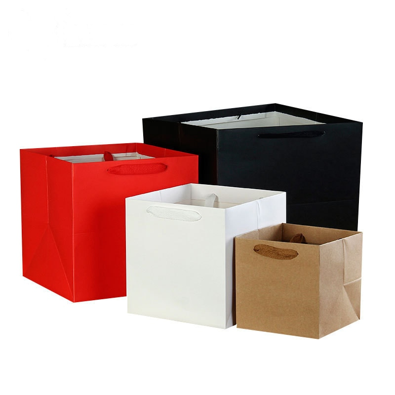 Multi-color optional Square Kraft Paper Gift Bags Holiday Jewelry Bags Wedding Birthday Party Gift F