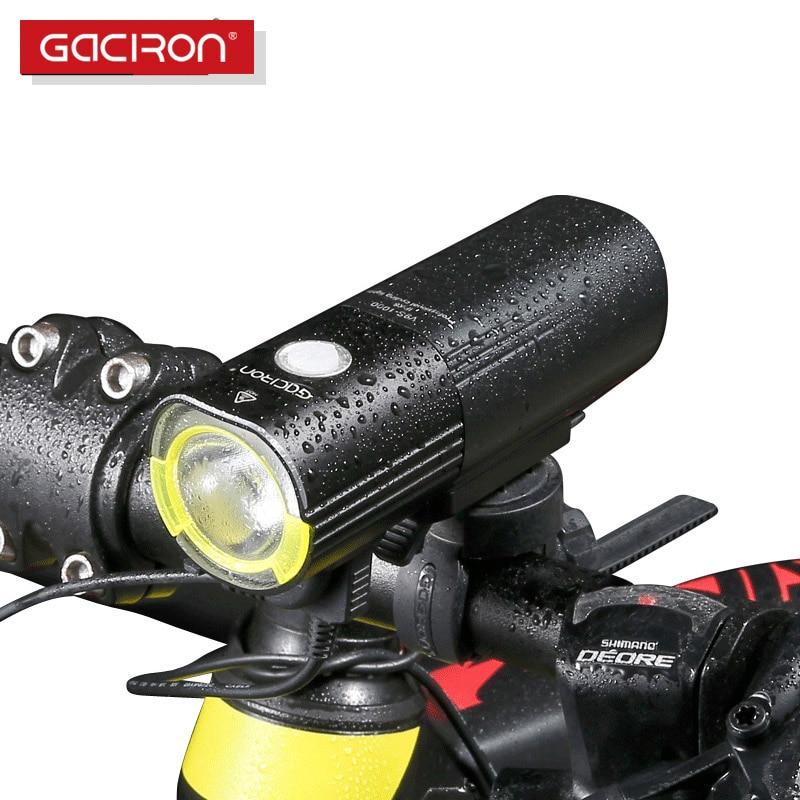 GACIRON-مصباح أمامي للدراجة الجبلية ، مصباح يدوي LED ، مقاوم للماء ، 1000 لومن ، بطارية طاقة ، ملحقات الدراجة