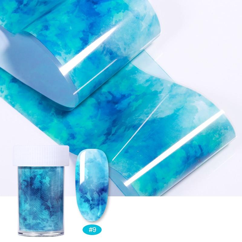 3D okyanus tarzı kabuk Abalone desen tırnak folyo degrade mermer tasarım folyo Nail Art termal Transfer folyo