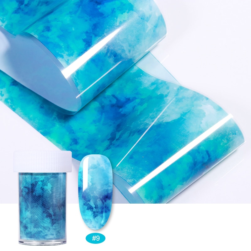 3D океан Стиль оболочки абалона шаблон ногтей Фольга s градиент мрамора дизайн Фольга s дизайн ногтей термопереводная фольга
