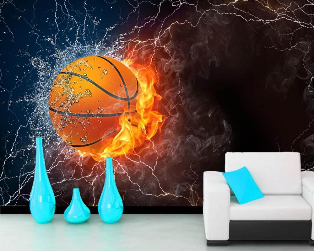 Papel de pared Basketball Water Fire Ball Sport 3d wallpapers,living room sofa TV wall bedroom wall papers home decor murals