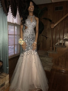 Luxury Crystals Mermaid Backless Prom Dresses 2019 Keyhole Plus Size 2K19 Couple Fashion vestidos de fiesta de noche For Women