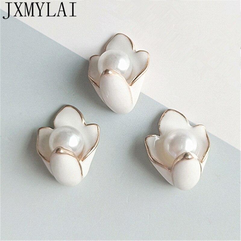 10 Uds 18*20mm aleación de Metal de moda KC gotas de oro de perla de imitación de esmalte Magnolia conectores de flores encanto para la fabricación de joyas