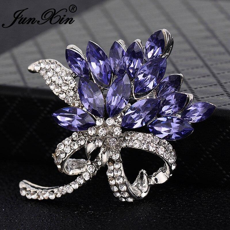 JUNXIN, lujoso de completo Cristal, bufanda, broches de flores para mujeres, Color blanco dorado, Vintage, circón, broche de vestido de boda femenino, Pins