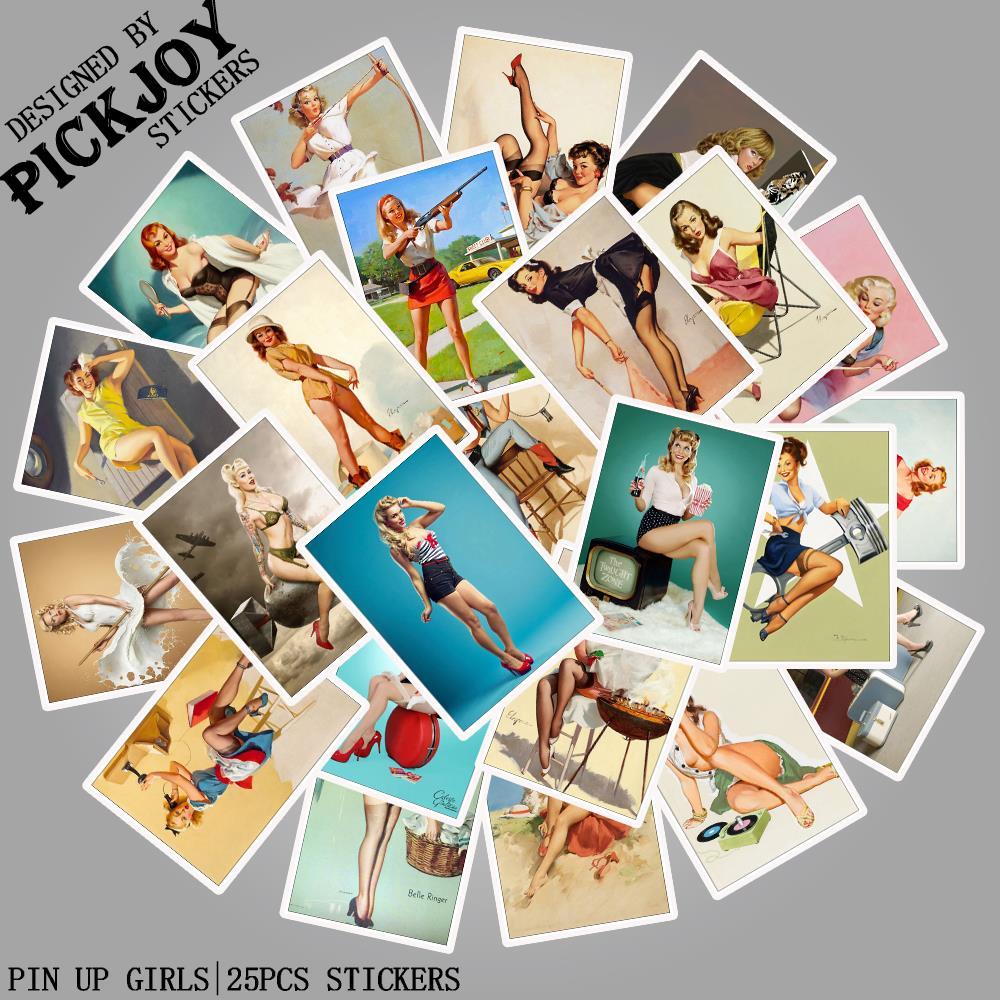 Pegatinas para chicas de Pin Up de la Segunda Guerra Mundial, paquete de 25 unidades de pegatinas impermeables de juguete para niños, pegatinas para equipaje, portátil, teléfono, pegatina para monopatín