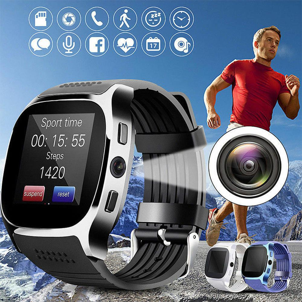 Reloj inteligente deportivo T8 Bluetooth con cámara, compatible con Whatsapp, Tarjeta SIM TF, reloj inteligente para teléfono Android PK Q18 DZ09
