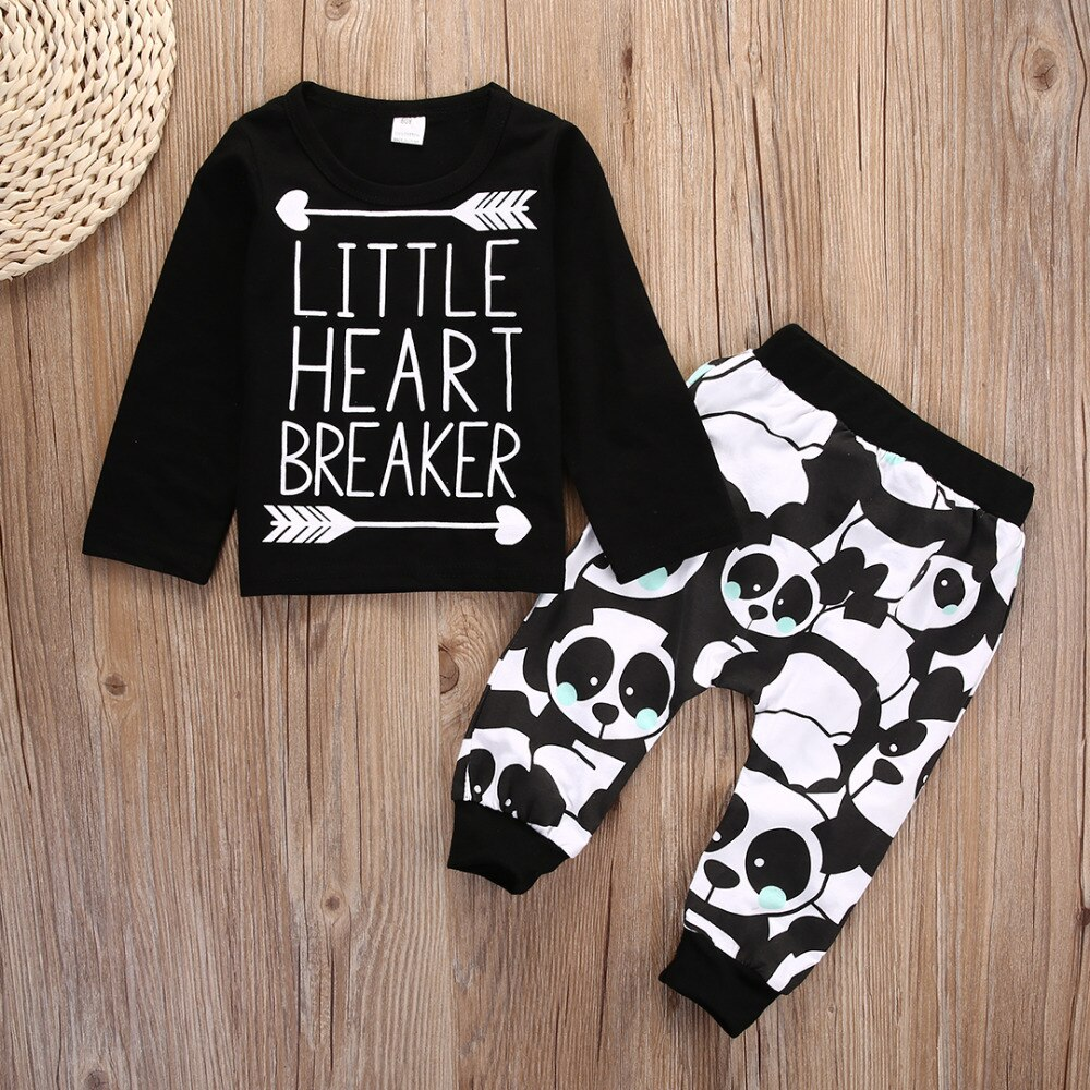 Infant Baby Newborn Boy Girl Little Heart Long Sleeve T-shirt Top+Panda Legging Long Pants 2pcs Outfit Set Baby Boy Girls Outfit