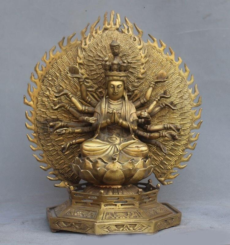 Navidad Joss Budismo Tibetano puro latón 1000 brazos Avalokiteshvara kwan-yin estatua de GuanYin halloween