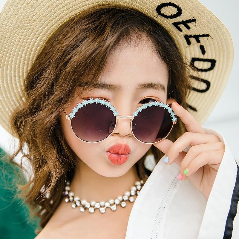 Festival Metal Frame Kids Sunglasses Flower Round Sun Glasses Girls Boys Brand Children Oculos Eyeglasses UV400