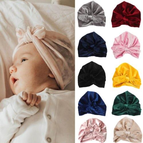 Cute Newborn Toddler Kids Baby Boy Girl Turban Velvet Beanie Hat Winter Warm Cap new