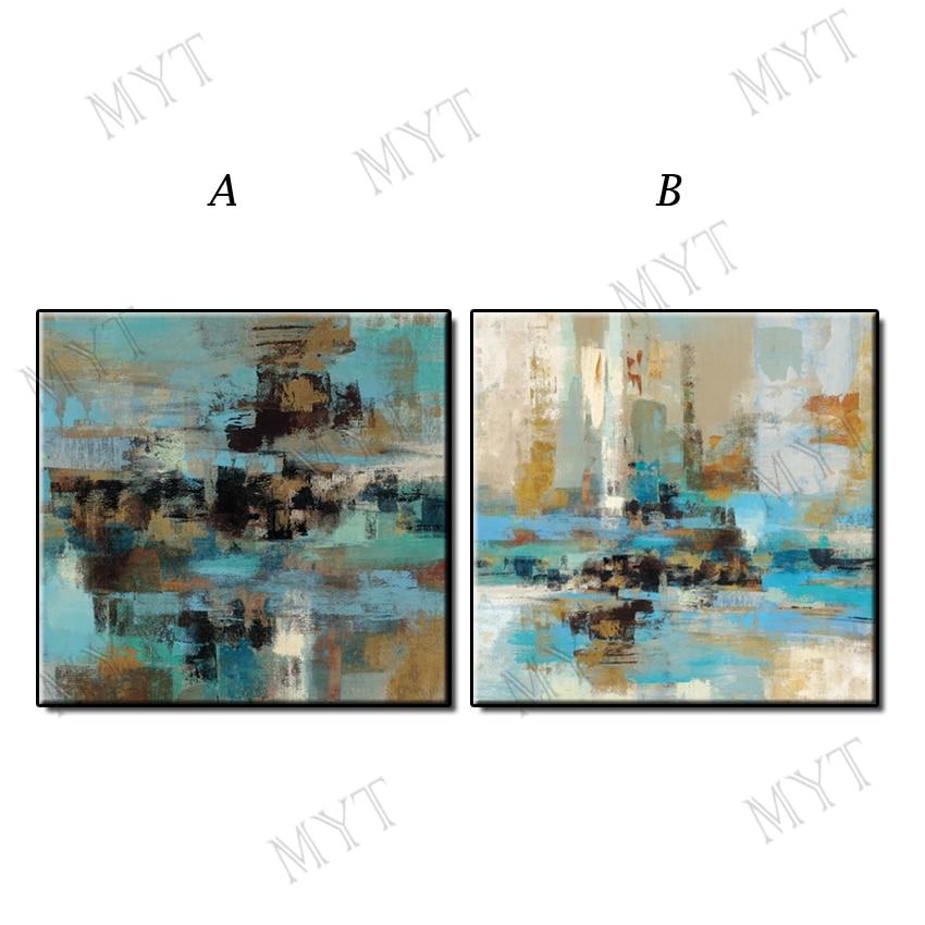 Pintura al óleo abstracta pintada a mano de 100% de gran tamaño sobre lienzo imágenes artísticas de paisaje azul para la pared para la sala de estar decoración del hogar sin marco