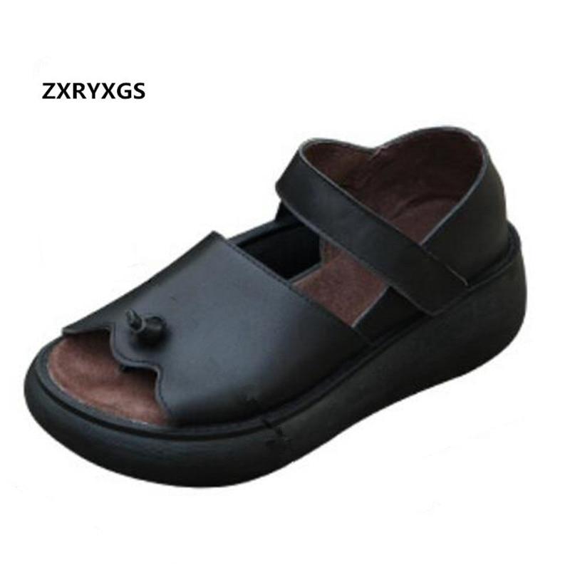New Natural Full Real Leather Sandals Flip Flops Loose Comfort Increase Platform Sandals 2019 Summer Women Shoes Fashion Sandals