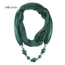 Fashion women scarf necklace beads pendent jewelry wrap bandana ethnic foulard lic winter female accessories Hot  rose green new