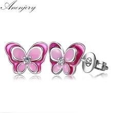 Anenjery gran oferta de Plata de Ley 925 joyería de Color epoxi mariposa Stud pendientes para las mujeres boucle d'oreille S-E633