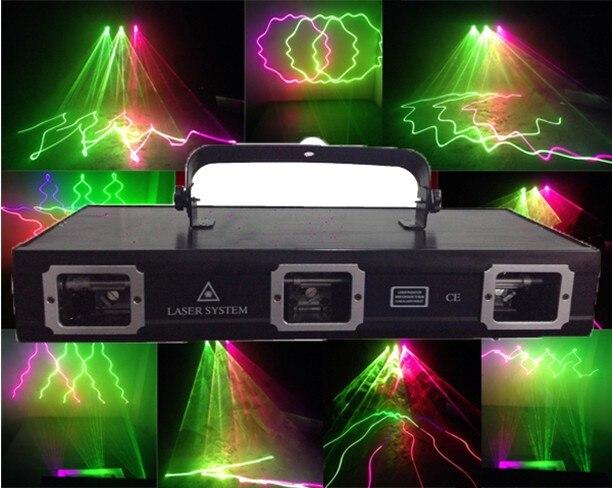 Alta calidad 3 cabezas 5 color RGB460MW animación láser luz interior 25 efectos láser patrón RGB luz láser para fiesta